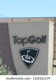 Scottsdale, Arizona / USA - May 20 2018: TopGolf sign on the exterior of the building