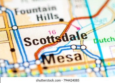 Scottsdale. Arizona. USA on a map