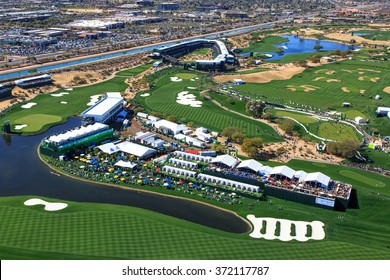 SCOTTSDALE, ARIZONA, USA-FEBRUARY 3, 2016-Aerial view of the Waste Management Phoenix Open on February 3, 2016 in Scottsdale, Arizona at the Tournament of Players Club Scottsdale (TPC)