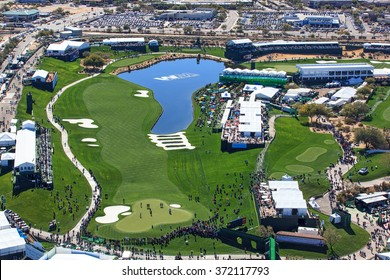 SCOTTSDALE, ARIZONA, USA-FEBRUARY 3, 2016-Aerial view of the Waste Management Phoenix Open on February 3, 2016 in Scottsdale, Arizona at the Tournament of Players Club Scottsdale (TPC)