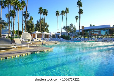 SCOTTSDALE, AZ -23 FEB 2018- View of the swimming pool at the Andaz Scottsdale Resort and Spa, a luxury concept boutique hotel managed by Hyatt in the Sonora Desert in Scottsdale, Arizona.