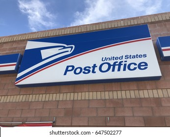 SCOTTSDALE, AZ - MAY 25: Exterior signage on the front of the United States Post Office building in Scottsdale, Arizona on May 25, 2017.
