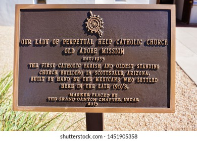 Scottsdale, AZ - Nov. 5, 2016: Plaque, Our Lady Of Perpetual Help Catholic Church, Old Adobe Mission.