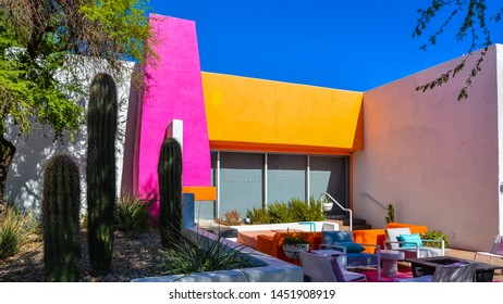 Scottsdale, AZ - Nov. 5, 2016: Modern design, streetside cafe, Scottsdale, Arizona.