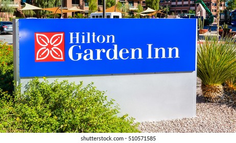 Scottsdale, AZ - Nov. 5, 2016: Hilton Garden Inn in Scottsdale Old Town. A modern hotel that is less than 10 miles from the Sky Harbor Airport.