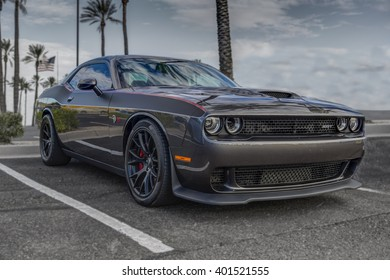 SCOTTSDALE, AZ - SEPTEMBER 5, 2015: Gray 2015 Dodge Challenger SRT Hemi Hellcat automobile in Scottsdale, Arizona