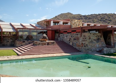 Scottsdale, AZ, USA - April 22, 2018: View of Taliesin West, the landmark winter home and school of famous American architect Frank Lloyd Wright
