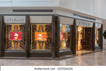 Scottsdale, Az/USA -12.7.18 BVLGARI is an Italian jewelry and luxury goods brand that produces and markets several product lines including jewelry, watches, fragrances, accessories, and hotels.