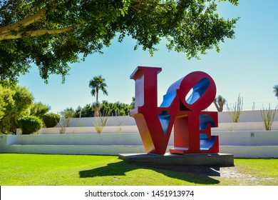 Scottsdale, AZ/USA - Nov. 5, 2016: The word LOVE in uppercase letters, arranged in squares with a tilted letter O. Robert Indiana's best known image.