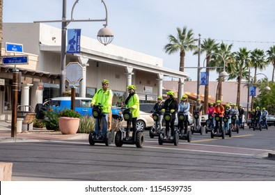 Scottsdale,AZ/USA -1.22.18: Segway 2-wheel,self-balancing transporter Invented by Dean Kamen and brought to market in 2001; Seen here Scottsdale Segway Tours, LLC rated the #1 tour on Trip Advisor.