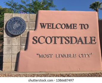 Scottsdale,AZ/USA - 4.24.19: Welcome to Scottsdale sign:  which is a city in the eastern part of Maricopa County, Arizona, United States, part of the Greater Phoenix Area.