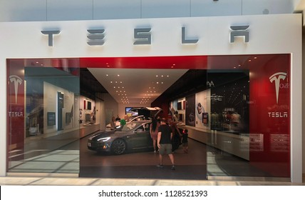 Scottsdale,Az/USA - 7.4.18 Tesla, Inc. is based in Palo Alto, California & makes electric cars, started in 2003 by Martin Eberhard and Elon Musk (who also co-founded PayPal and is the CEO of SpaceX).