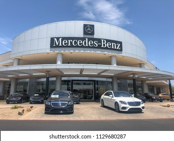 Scottsdale,Az/USA- 7.8.2018 - Mercedes-Benz is a global automobile marque and a division of the German company Daimler AG. The brand is known for luxury vehicles, buses, coaches, and lorries.