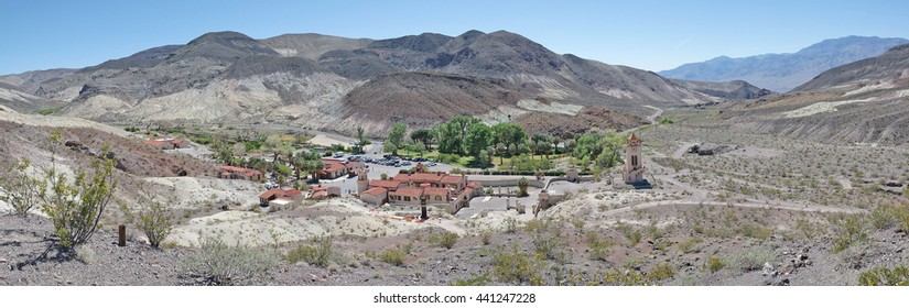 Scotty's Castle, Death Valley, California (April 3, 2015) - A panoramic view of Scotty's Castle in Death Valley National Park and the surrounding buildings and landscape