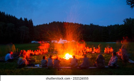 Scout camp, bonfire