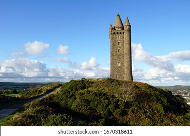Scrabo Tower. A 19th-century lookout tower that stands on Scrabo Hill near Newtownards in County Down, Northern Ireland