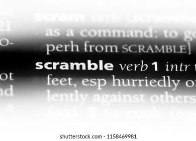 scramble word in a dictionary. scramble concept.