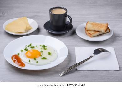 scrambled eggs, espresso with toast and cheese