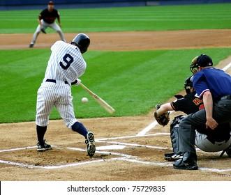SCRANTON - JULY 31: Scranton Wilkes Barre Yankees batter, No. 9 swings at a pitch in a game at PNC Field on July 31, 2008 in Scranton, PA.