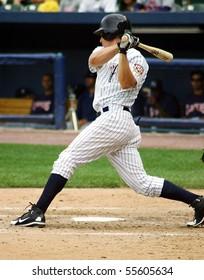 SCRANTON - JUNE 26: Scranton Wilkes Barre Yankees batter swings hard  against the Columbus Clippers in a game at PNC Field June 26, 2008 in Scranton, PA