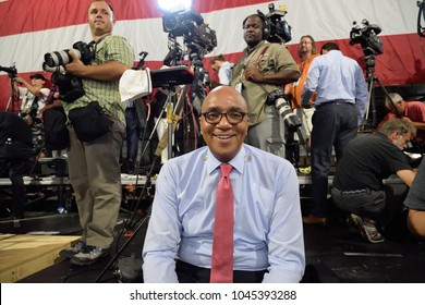 SCRANTON, PA - AUGUST 15, 2016: Joe Johns is the CNN Senior Washington correspondent for CNN reporting from a campaign rally for Hillary Clinton at Riverfront Sports.