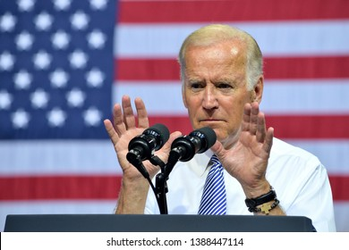 SCRANTON, PA - AUGUST 15, 2016: Vice President Joe Biden gestures with focused intensity during his speech at the Hillary Clinton campaign rally.