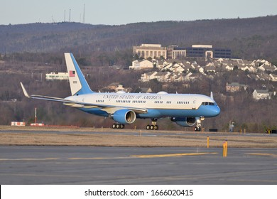 SCRANTON, PA - MARCH 05, 2020: President Donald Trump arrives on Air Force One at Wilkes-Barre Scranton International Airport to attend a Fox News Town Hall in Scranton.