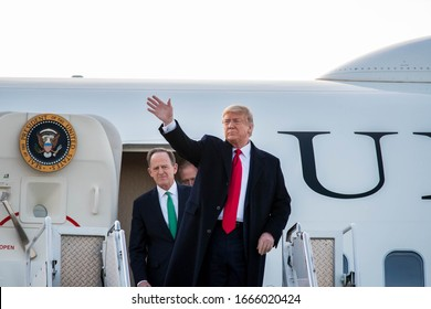 SCRANTON, PA - MARCH 05, 2020: President Donald Trump arrives on Air Force One with Senator Pat Toomey as well as others for a Fox News Town Hall in Scranton, PA.