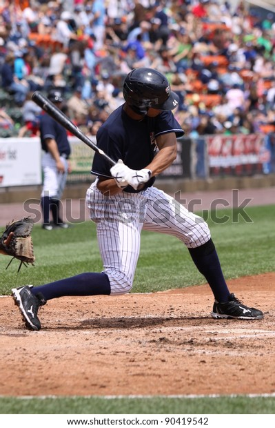 SCRANTON, PA - MAY 24: Scranton Wilkes Barre Yankees batter Justin Maxwell swings during a game against the Indianapolis Indians at PNC Field on May 24, 2011 in Scranton, PA.