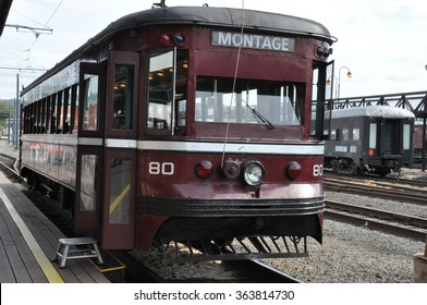 SCRANTON, PA - SEP 26: Electric City Trolley Museum in Scranton, Pennsylvania, as seen on Sep 26, 2015. The museum offers a trip, including a long tunnel, replicating a typical 1920's interurban ride.