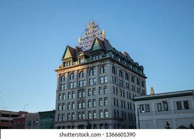 Scranton, PA, USA, April 6, 2019: Illustrative editorial image of the Scranton Electric Building displaying the Electric City sign.