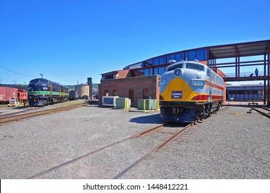 SCRANTON, PA, USA - AUG 7, 2010: Delaware, Lackawanna & Western Railroad DLW 664 is a EMD F3A diesel locomotive in Steamtown National Historic Site in Scranton, Pennsylvania, USA.