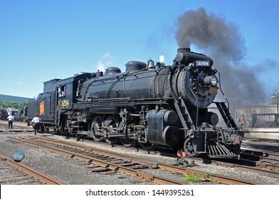 SCRANTON, PA, USA - AUG 7, 2010: Steam locomotive Canadian National 3254 in Steamtown National Historic Site in Scranton, Pennsylvania, USA.
