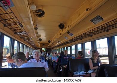 SCRANTON, PA, USA - AUG 7, 2010: Historic Passenger Coach in Steamtown National Historic Site in Scranton, Pennsylvania, USA.