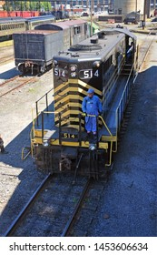 SCRANTON, PA, USA - AUG 7, 2010: Diesel locomotive in Steamtown National Historic Site in Scranton, Pennsylvania, USA.