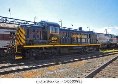 SCRANTON, PA, USA - AUG 7, 2010: Delaware, Lackawanna Railroad DL 4068 is a Alco RS3 diesel locomotive in Steamtown National Historic Site in Scranton, Pennsylvania, USA.