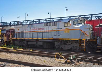SCRANTON, PA, USA - AUG 7, 2010: Mohawk Adirondack and Northern Railroad MHWA 2045 is a BCOL 645 M420W diesel locomotive in Steamtown National Historic Site in Scranton, Pennsylvania, USA.