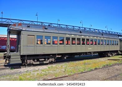 SCRANTON, PA, USA - AUG 7, 2010: Historic Lackawanna Railroad Passenger Coach 589 in Steamtown National Historic Site in Scranton, Pennsylvania, USA.