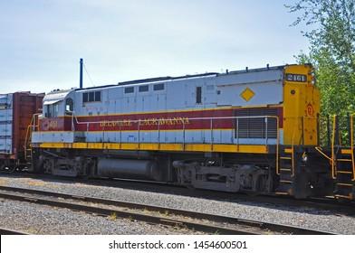 SCRANTON, PA, USA - AUG 7, 2010: Delaware, Lackawanna Railroad DL 2461 is a Alco C425 diesel locomotive in Steamtown National Historic Site in Scranton, Pennsylvania, USA.