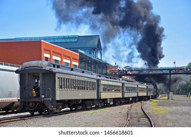 SCRANTON, PA, USA - AUG 7, 2010: Steam train in Steamtown National Historic Site in Scranton, Pennsylvania, USA.