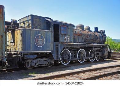 SCRANTON, PA, USA - AUG 7, 2010: Steam locomotive Canadian National 47 in Steamtown National Historic Site in Scranton, Pennsylvania, USA.