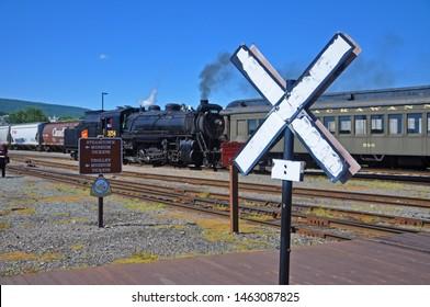 SCRANTON, PA, USA - AUG 7, 2010: Railroad Crossing in Steamtown National Historic Site in Scranton, Pennsylvania, USA.