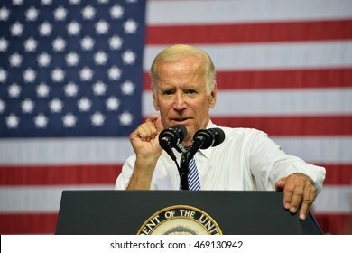SCRANTON, PA, USA - AUGUST 15, 2016: Vice President Joe Biden delivers a speech at a campaign event for democratic presidential nominee Hillary Clinton.