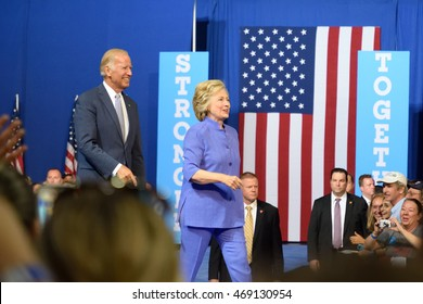 SCRANTON, PA, USA - AUGUST 15, 2016: Vice President Joe Biden and Democratic Presidential nominee Hillary Clinton arrive on stage at a joint campaign rally.
