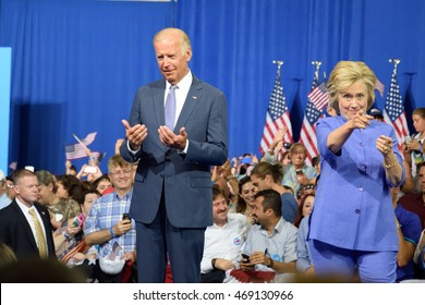 SCRANTON, PA, USA - AUGUST 15, 2016: Vice President Joe Biden and Democratic Presidential nominee Hillary Clinton hold a joint campaign rally at Riverview Sports.