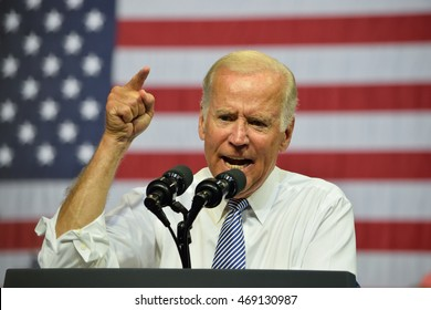SCRANTON, PA, USA - AUGUST 15, 2016: Vice President Joe Biden makes a strong gesture while he delivers a speech at a campaign event for democratic presidential nominee Hillary Clinton.
