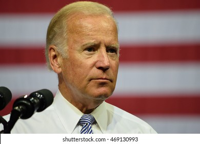 SCRANTON, PA, USA - AUGUST 15, 2016: Vice President Joe Biden pauses while he delivers a speech at a campaign event for democratic presidential nominee Hillary Clinton.