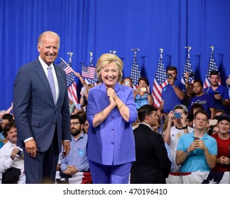 SCRANTON, PA, USA - AUGUST 15, 2016: Vice President Joe Biden and Democratic Presidential nominee Hillary Clinton arrive on stage for a joint campaign rally at Riverview Sports.