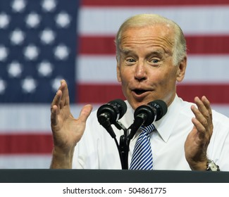SCRANTON, PA, USA - AUGUST 15, 2016: Vice President Joe Biden makes a jovial gesture while he delivers a speech at a campaign event for democratic presidential nominee Hillary Clinton.