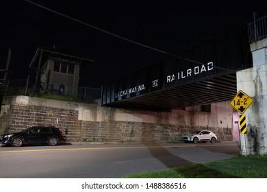 Scranton, PA, USA, August 24, 2019: Illustrative editorial image of the Lackawanna Railroad Bridge located on Cedar Avenue in downtown Scranton next to the Iron Furnaces.